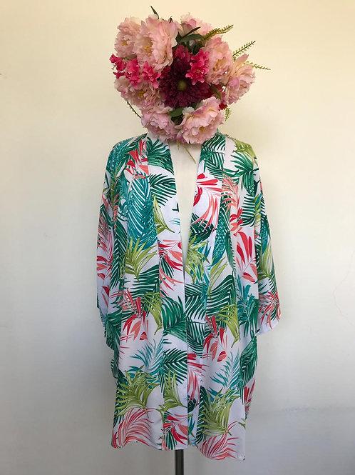 Kimono Trancoso folhas palmeiras fundo branco