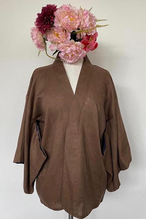 Kimono Kyoto Linho Puro Marrom fita marrom de paetê