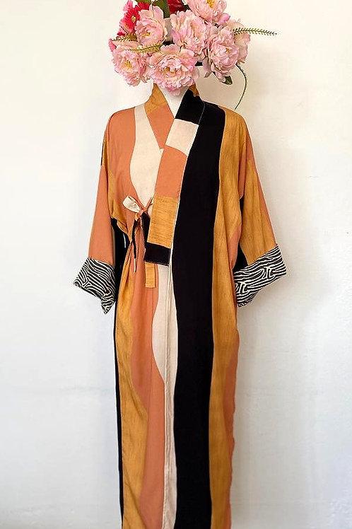 Kimono Tokyo longo mostarda e preto