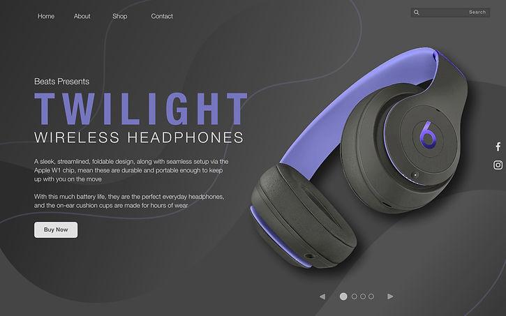 Purple Beats by dre Landing Page