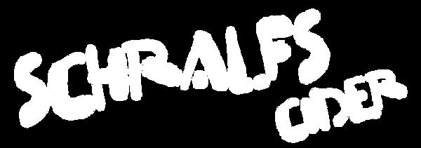 Schralfs Cider Brand Logo design in white