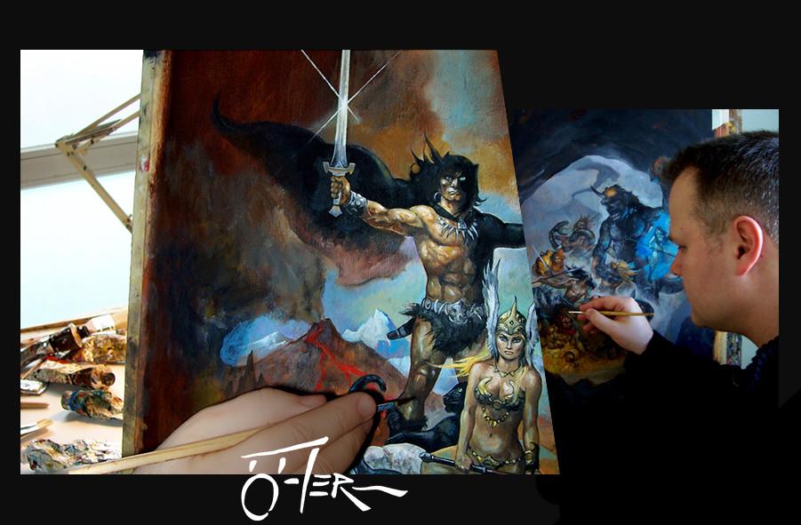 Beim Malen an den Fantasy-Gemälden