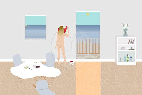 Selfie in Svensk Sommarstuga (digital painting in print)