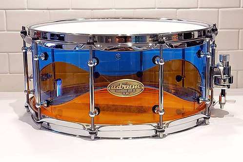 """14"""" x 6.5"""" Amber and Blue Wave Acrylic Snare"""