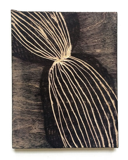Fear of losing you, Budkalito woodcut object, Maple plywood, 7 1/4in x 5.5in by Ewa Budka