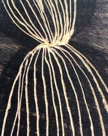 ZOOM IN of Fear of losing you, Budkalito woodcut object, Maple plywood, 7 1/4in x 5.5in by Ewa Budka