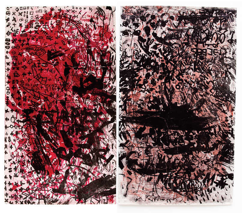 The Skin I have been living in, dyptich, Budkalito e/a print, japanese paper, each 70cm x 120cm
