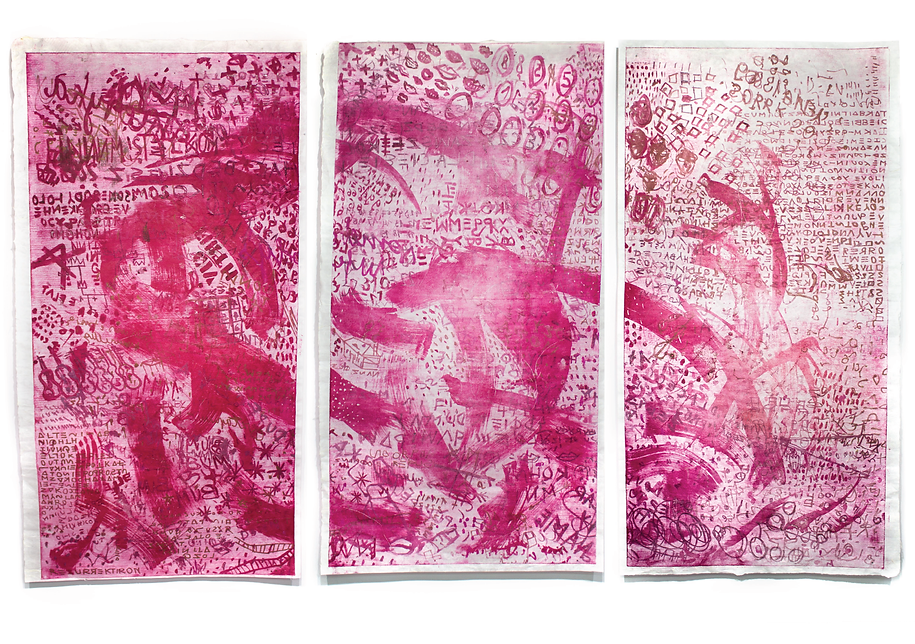 St.Louis in Pink, triptych, Budkalito print on japanese paper, each 126cm x 76cm, by Ewa Budka piece represented by HATSH PARIS