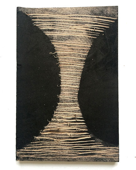 Fear of separation, Budkalito woodcut object, Maple plywood, 8 1/4in x 5.5in by Ewa Budka