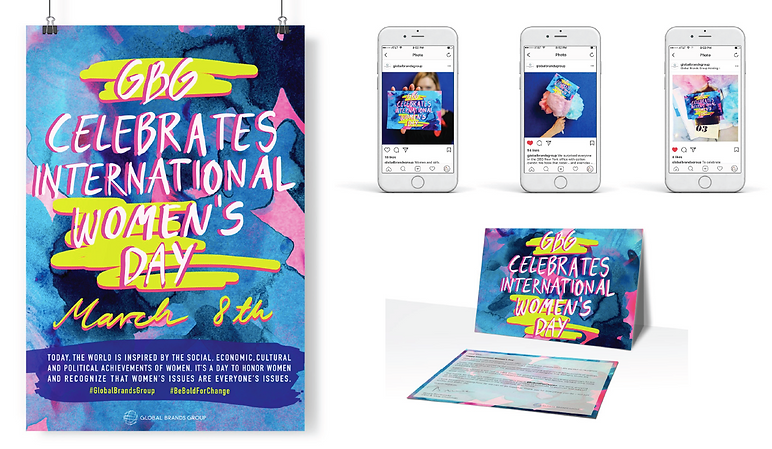 International Women's Day Celebrations at GBG, poster, cards and on social, by Ewa Budka