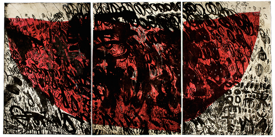 Inside, triptych, Budkalito e/a print on Okawara paper, 120cm x 80cm, made by Ewa Budka