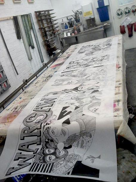 "Making off ""Warsaw calling"" drawin at East London Printmakers"