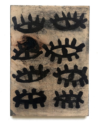Fear of seeing, Budkalito woodcut object, Maple plywood, 6in x 8 1/4in by Ewa Budka
