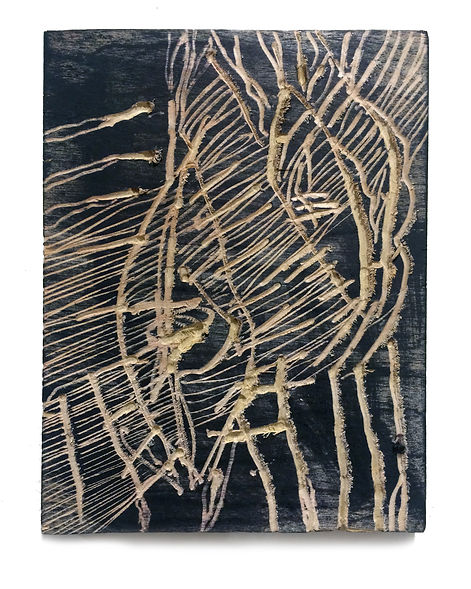 Fear of the night, Budkalito woodcut object, Maple plywood, 7 3/4in x 5.5in by Ewa Budka