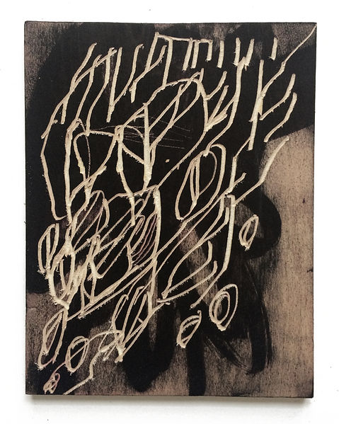 Fear of you, Budkalito woodcut object, Maple plywood, 10 1/4in x 8in by Ewa Budka