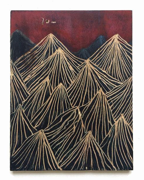 Fear of dreams, Budkalito woodcut object, Maple plywood, 10in x 8in by Ewa Budka
