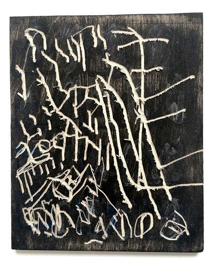 Fear of fear, Budkalito woodcut object, Maple plywood, 9.3/4in x 8in by Ewa Budka