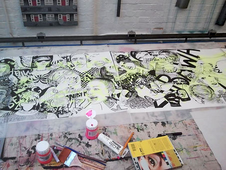 "Making off ""Warsaw calling"" drawin at East London Printmakers"