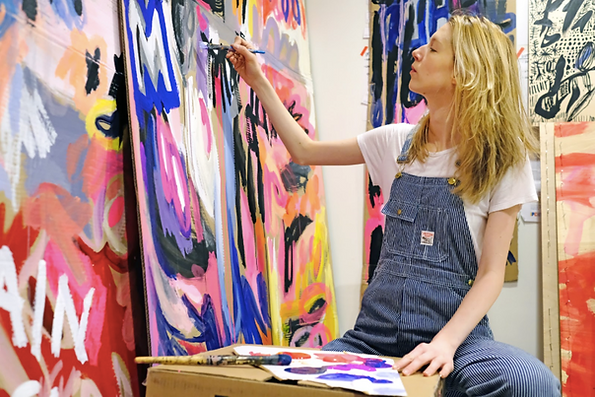 Ewa Budka painting in her studio photo by Thomas Levinson