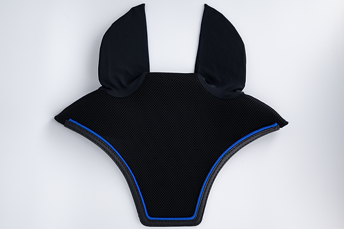 Black Square Bonnet with Black Trim and Royal Blue Piping