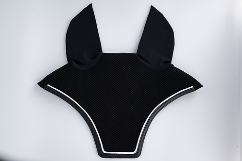 Black Square Bonnet with Black Trim and White Piping