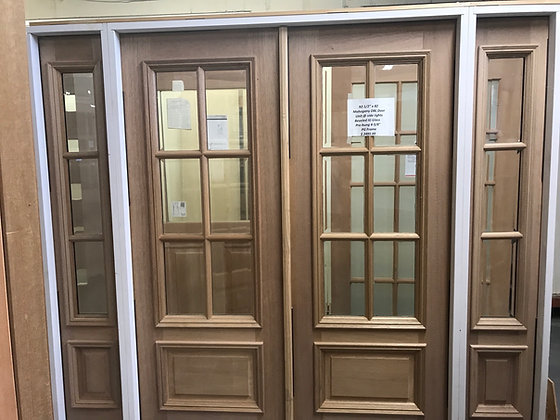 Mahogany double door unit with two sidelights beveled I Insulated glass