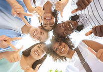 International Friendship. Group Of Joyful Multicultural Teenagers Standing In Circle, Show