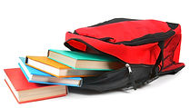 School backpack and books. On a white background..jpg