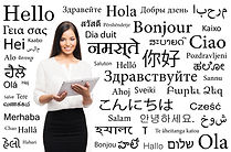Young attractive woman with and ipad over the background with a different world languages
