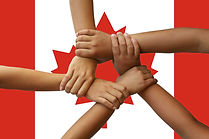 Canada flag, intergration of a multicultural group of young people..jpg