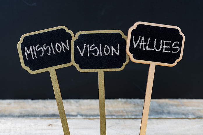 Business message MISSION, VISION, VALUES written with chalk on wooden mini blackboard labe