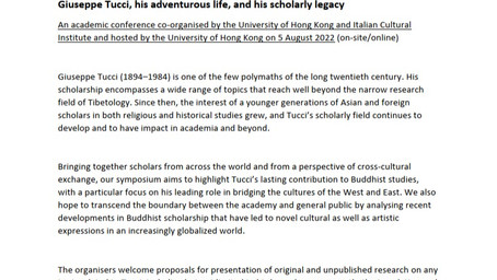 Call for Papers: Giuseppe Tucci, his adventurous life, and his scholarly legacy