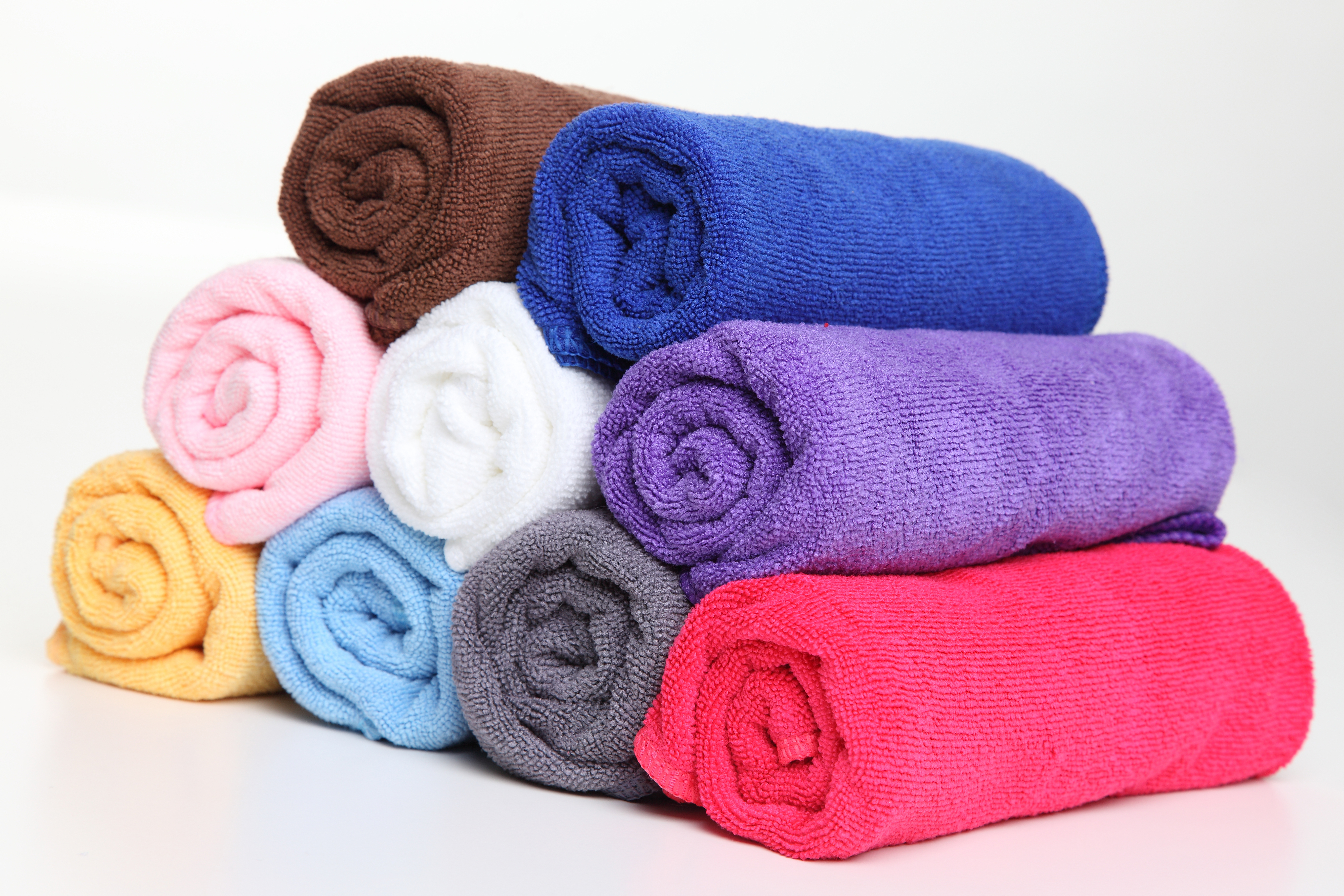 Piece dyed towels in any colour.