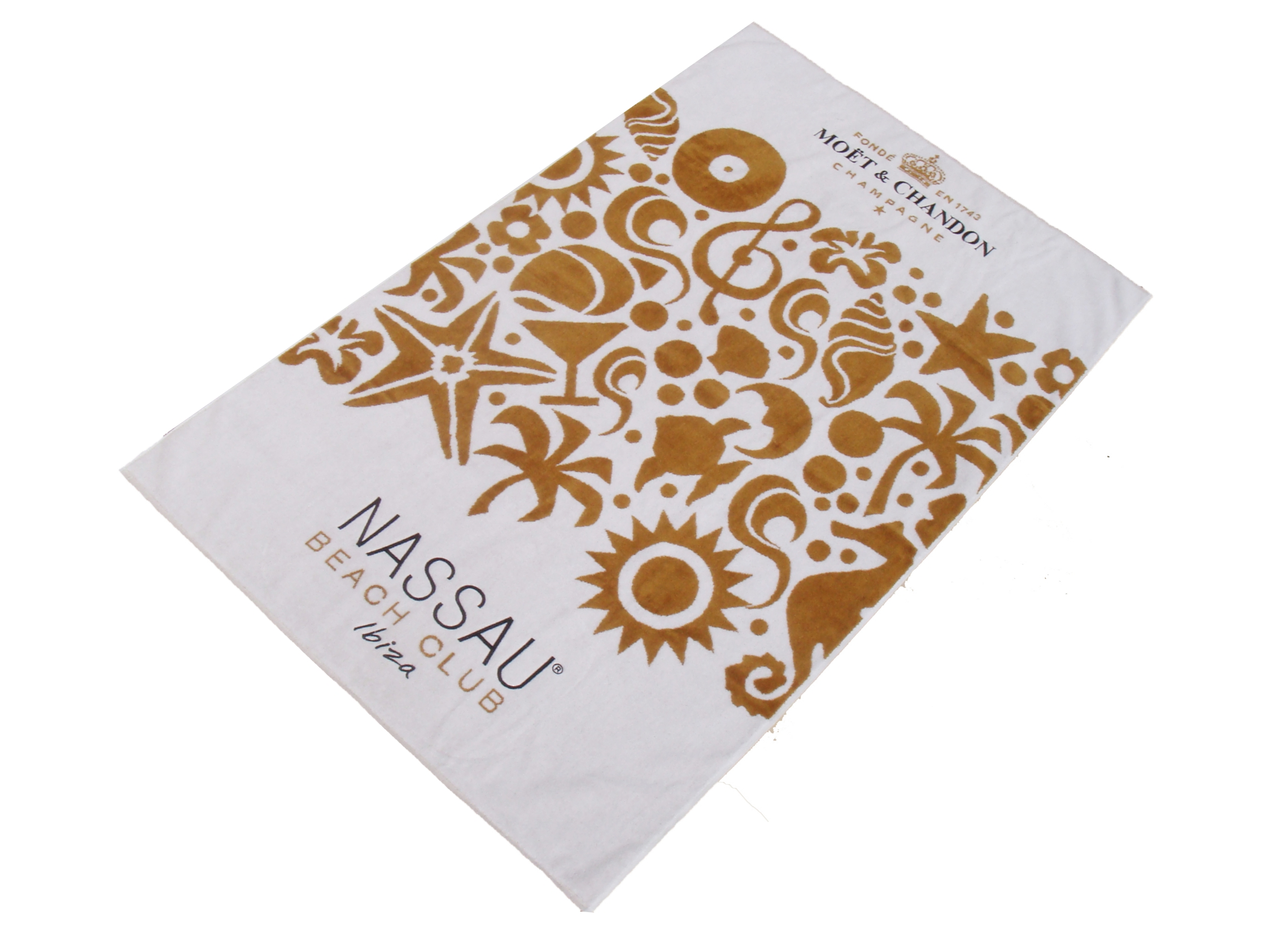 Nassau Beach Club Ibiza Moet towel with velour finish.jpg