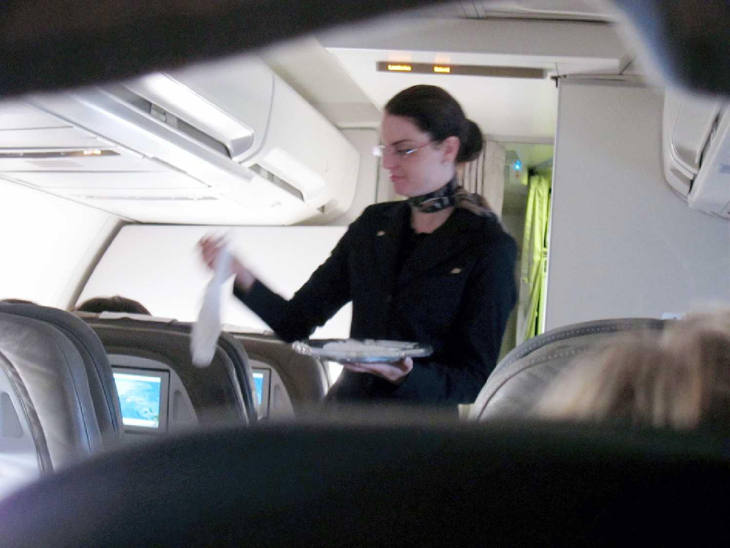 Oshibori towel served on an airline.