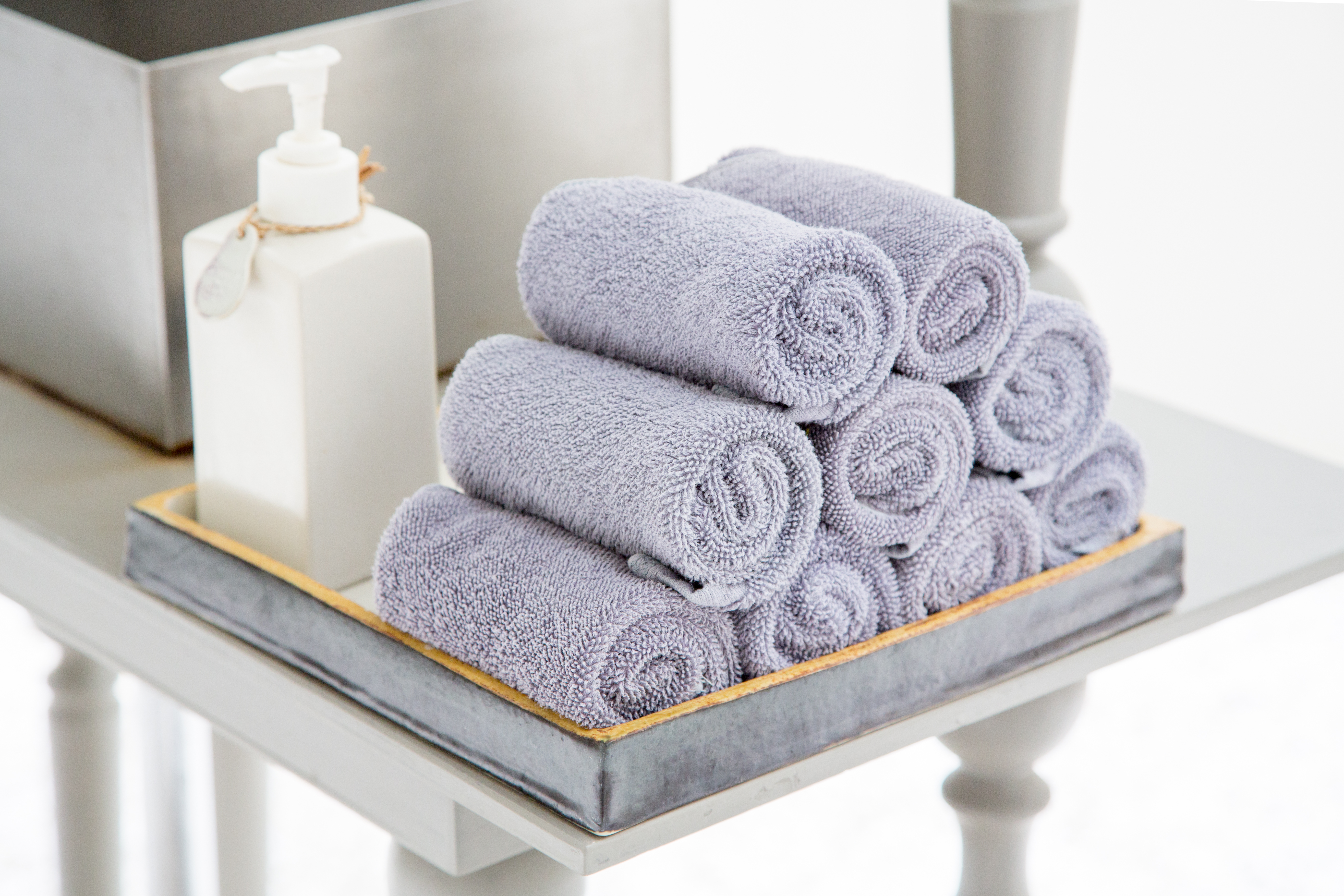 Plain dyed hotel towels.