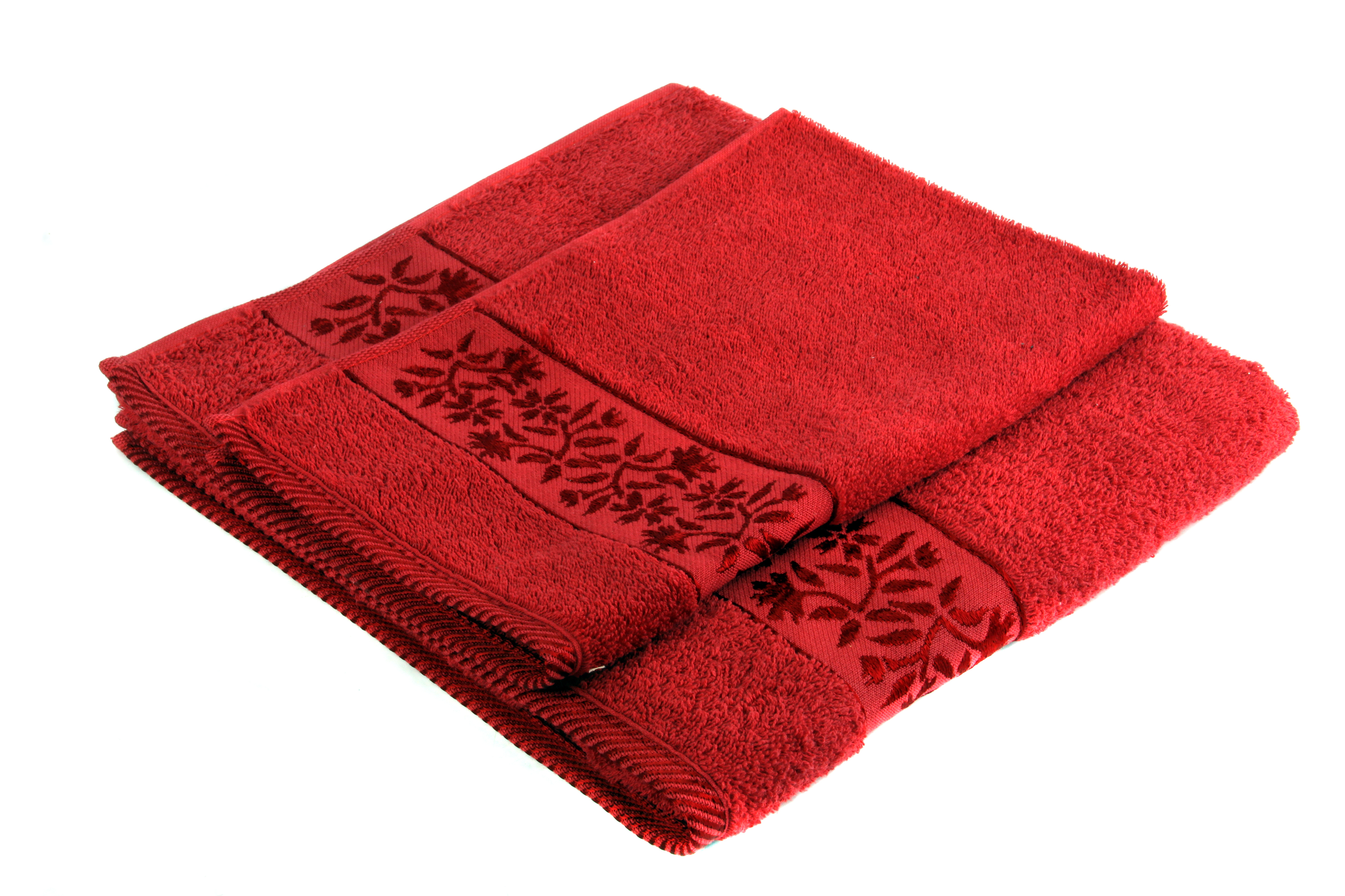 Dyed towel with decorative border.