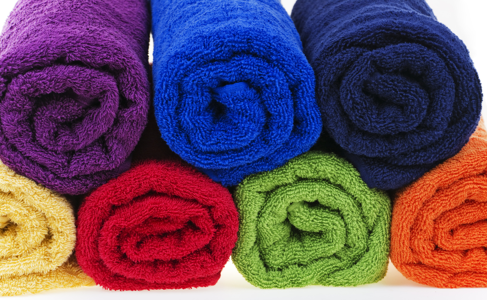Dyed terry cotton towels.