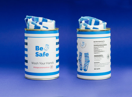 BE SAFE Knitted socks in a tin.