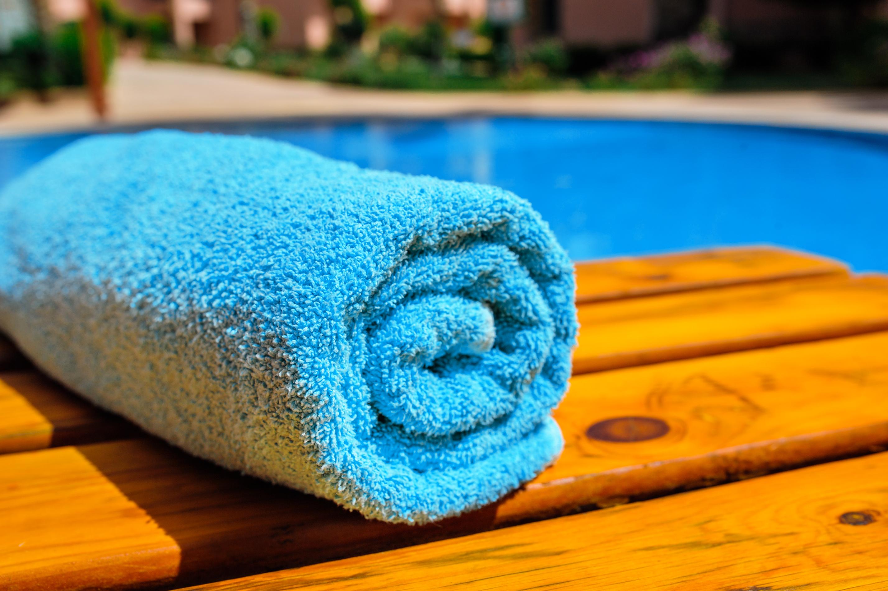 Plain dyed terry cotton towel.