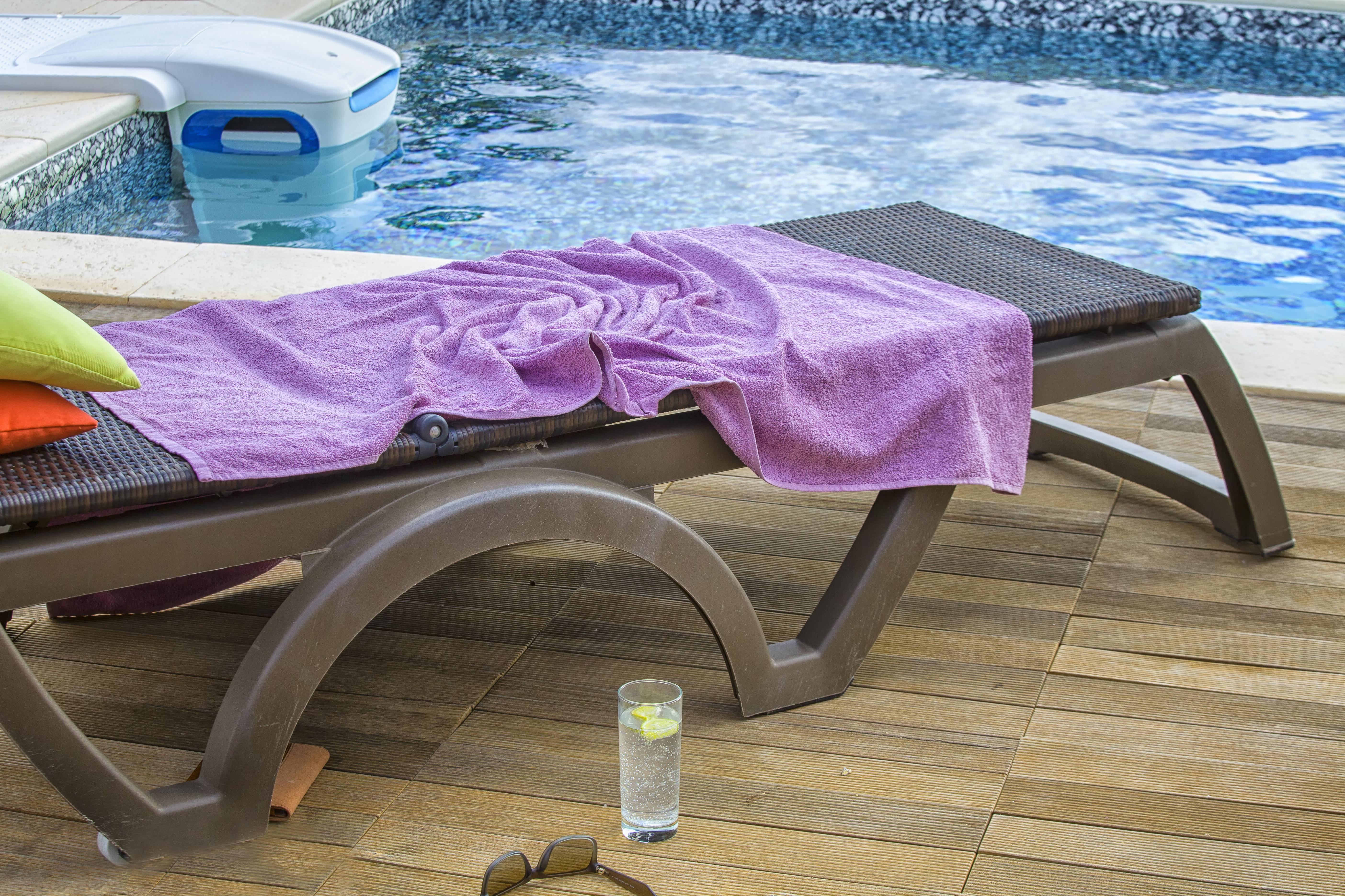 Resort hotel towel.