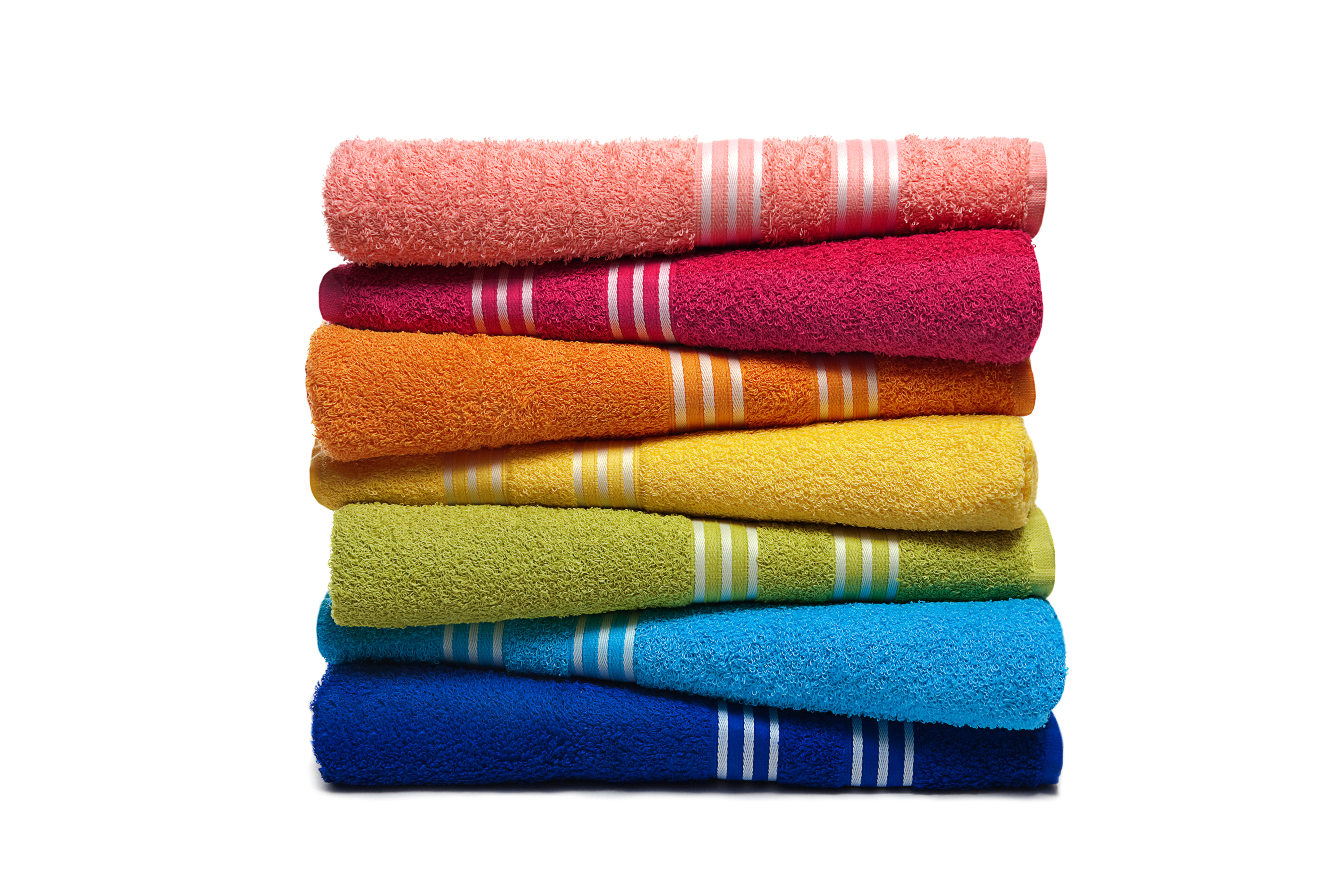 Towel with woven borders.