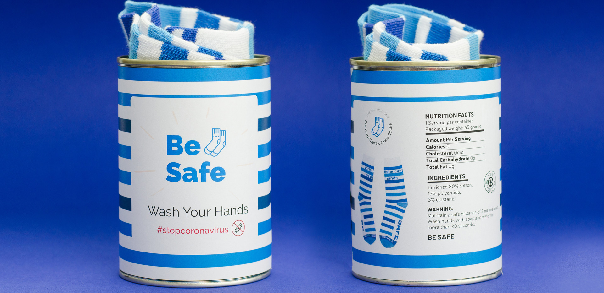 BE SAFE SOCKS AND HYGIENE PRODUCTS IN A TIN