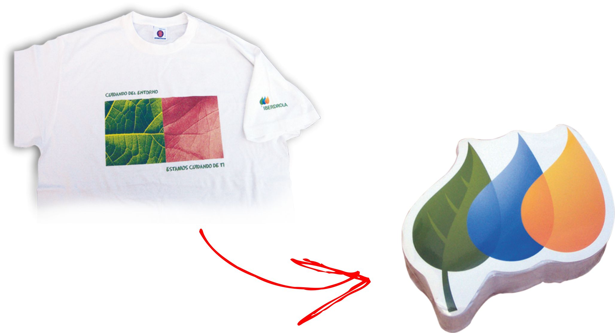 White T-shirt printed in four colour process and compressed into a custom made shape