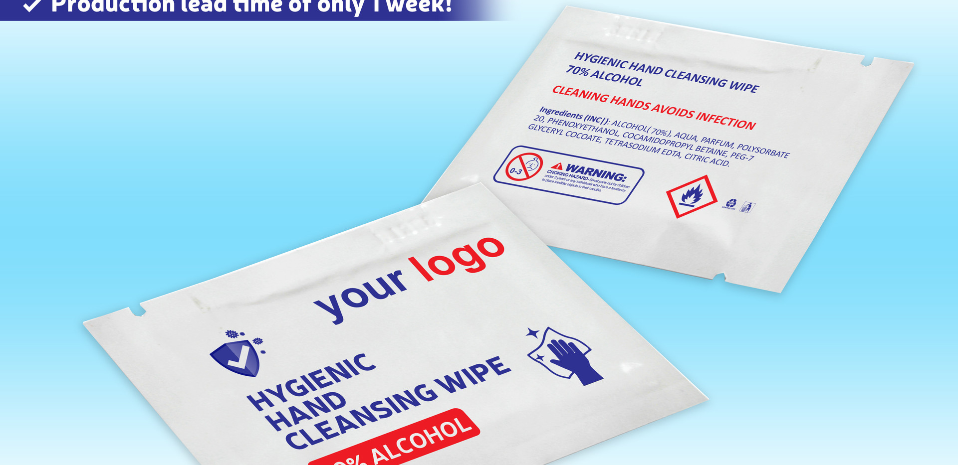 Hygienic Hand Cleansing Wipe 70% alcohol