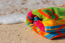 Jacquard woven and printed beach towels