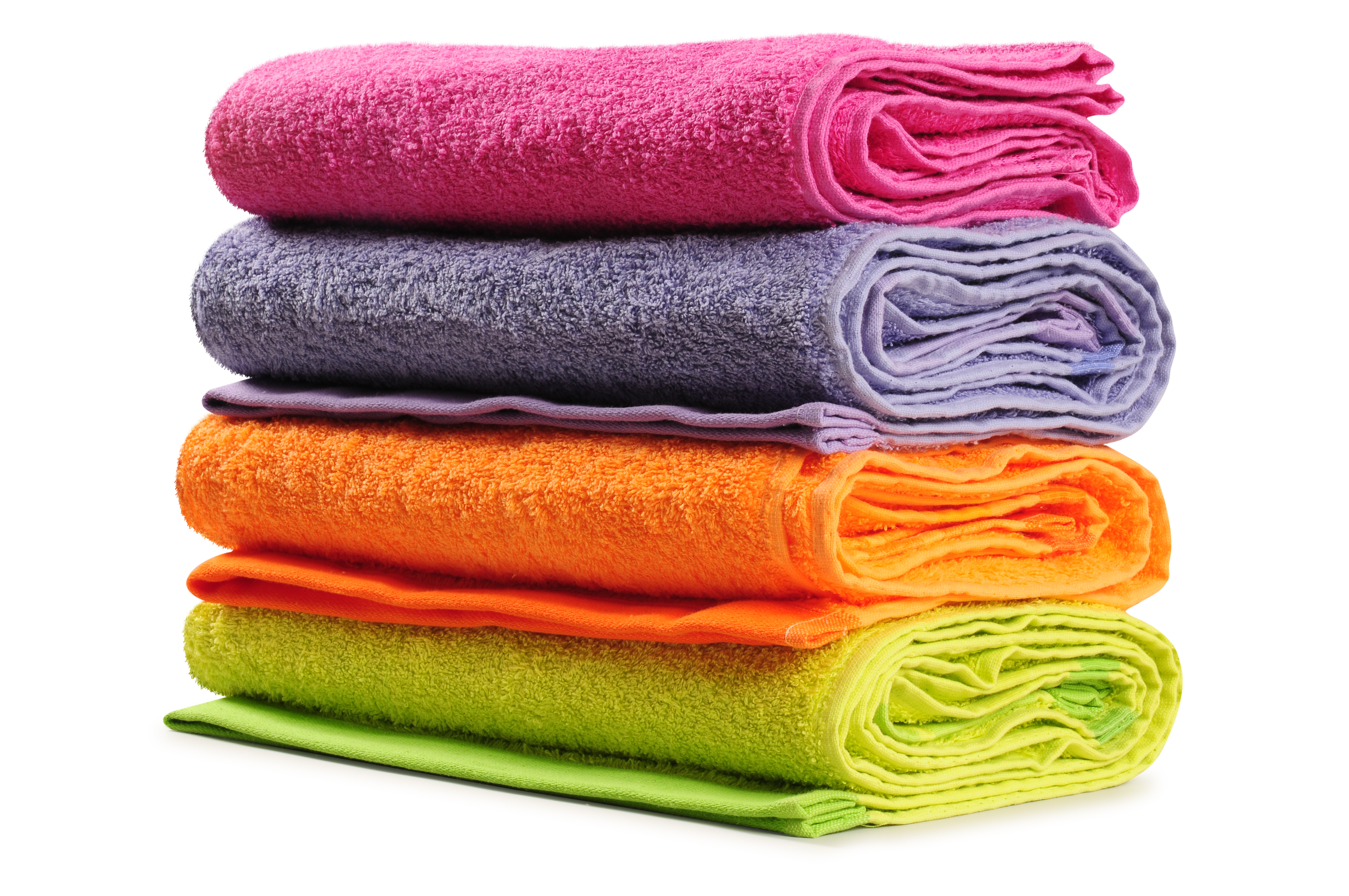 Plain dyed cotton towels.