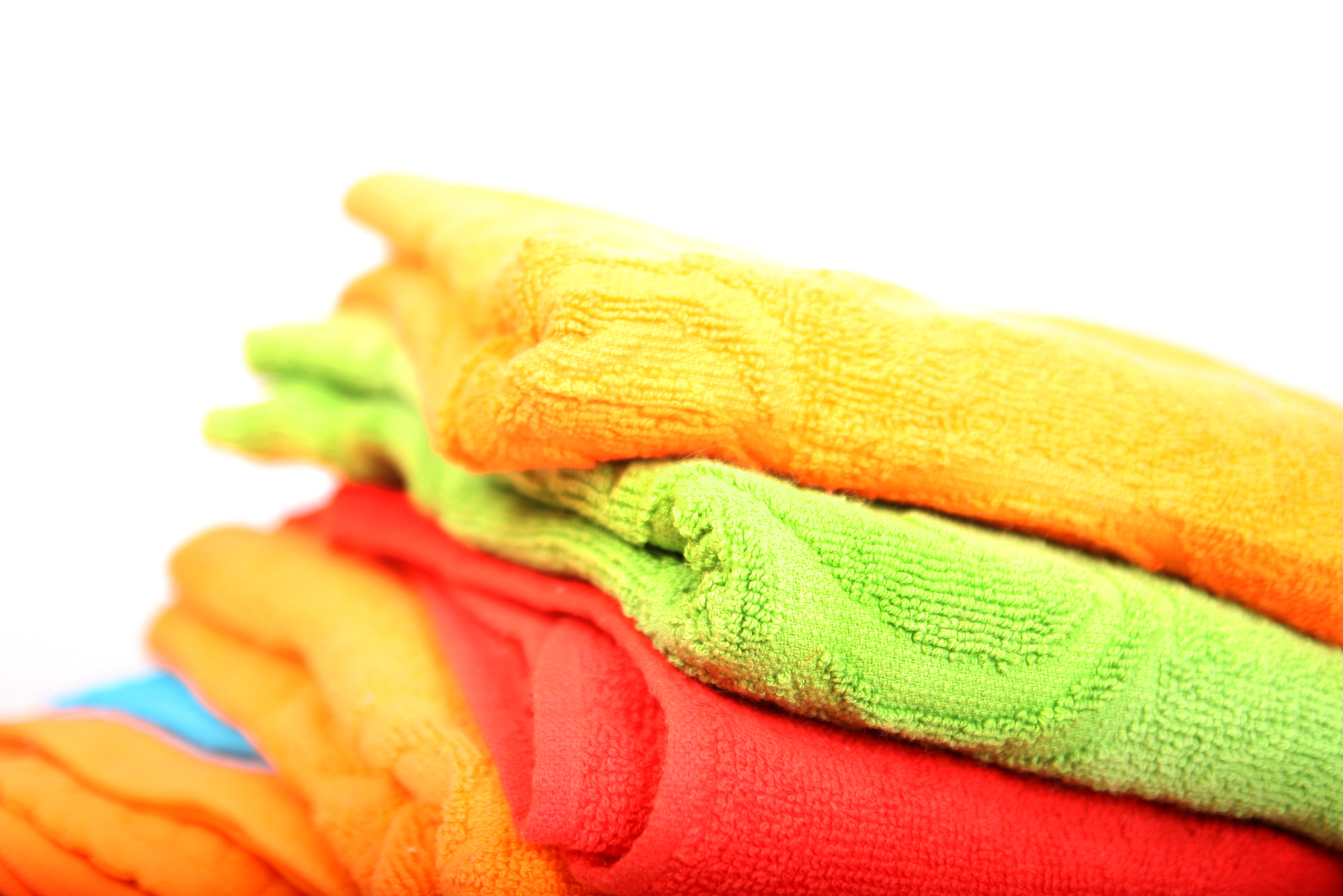 Relief woven border towels.