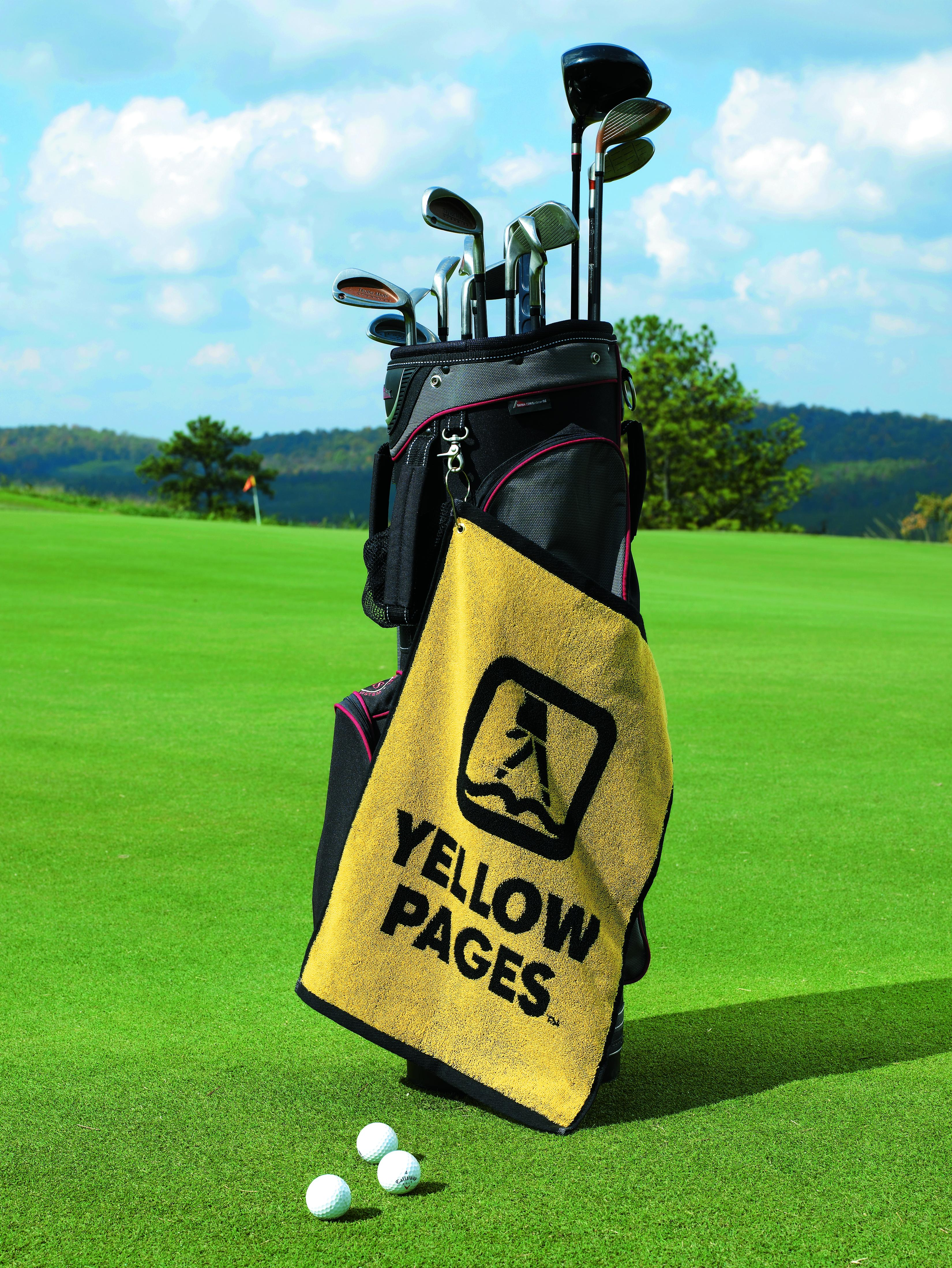 2 colour jacquard woven golf towel.