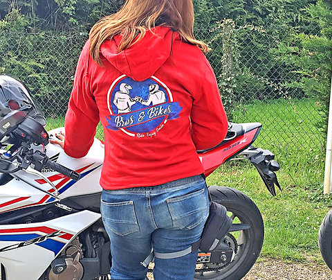 """Sweat rouge """"Born to ride"""" S"""